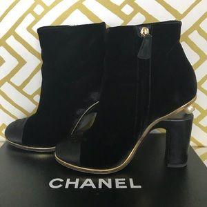 Chanel 2016 VELVET CAP-TOE ANKLE BOOTS